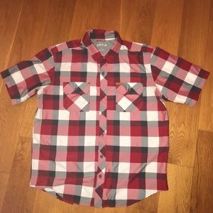 Orvis Mens L Technical Shirt Red Gray Plaid pocket